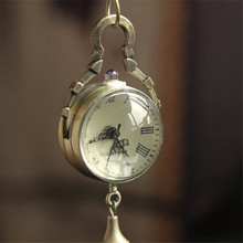 Hot selling Retro Vintage Bronze Quartz Ball Glass Pocket Watch Necklace Chain simple atmospheric womens watch form Steampunk