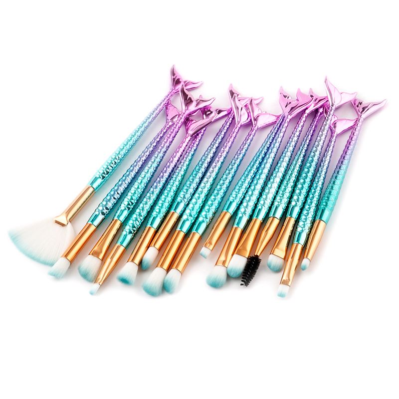 15Pcs Mermaid Makeup Brushes Concealer Eyelash Lip Brush Set Eyebrow Mascara Comb Beauty Fish Tail Big Large Fan Brush 2016 new arrival black dual purpose eyelash assist device extension beauty supplies brow brush lash comb makeup brushes tools