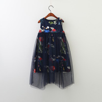 High End Girl Dress Spring 2018 Cartoon Printed Yarns Children Princess Party Dress Irregular Kids Sundress