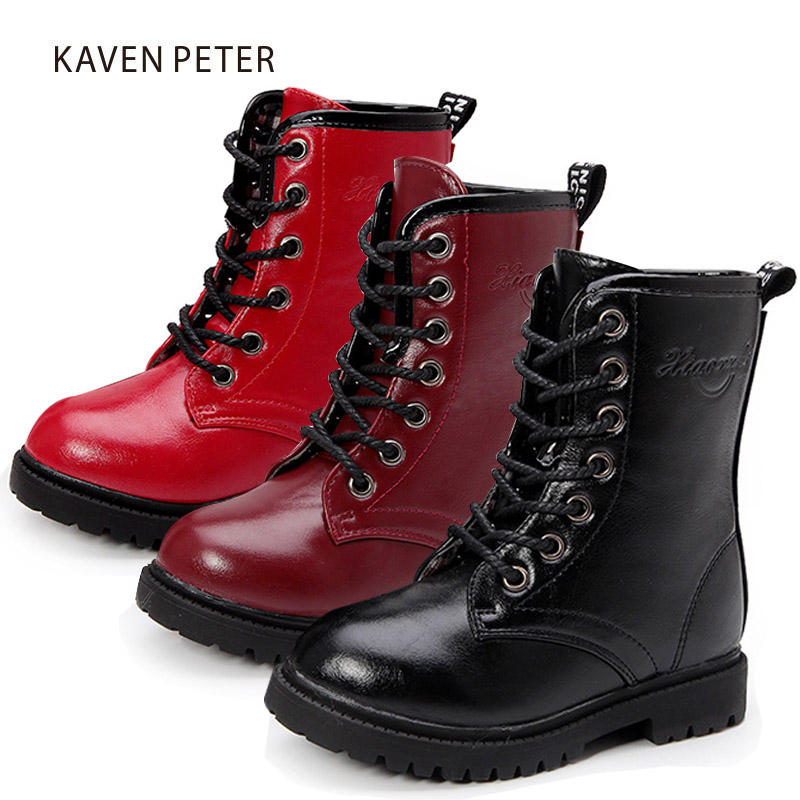 2017 Winter Children shoes PU Leather boys Fashion Martin Boots Girls Mid-Calf Motor Boots children Snow Boots Kids boots 10-5 цена
