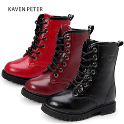 2017 Winter Children shoes PU Leather boys Fashion Martin Boots Girls Mid-Calf Motor Boots children Snow Boots Kids boots 10-5