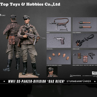 Full Set Action Figure POCKET ELITE SERIES 1/12 WWII SS Panzer Division Das Reich PES003 German with Weapon Double Head Carving