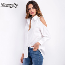 Benuynffy 2017 Spring New Women Sexy Off Shoulder Blouse Shirt Turn Down Collar Casual Tops White Black Long Sleeve Shirts X589