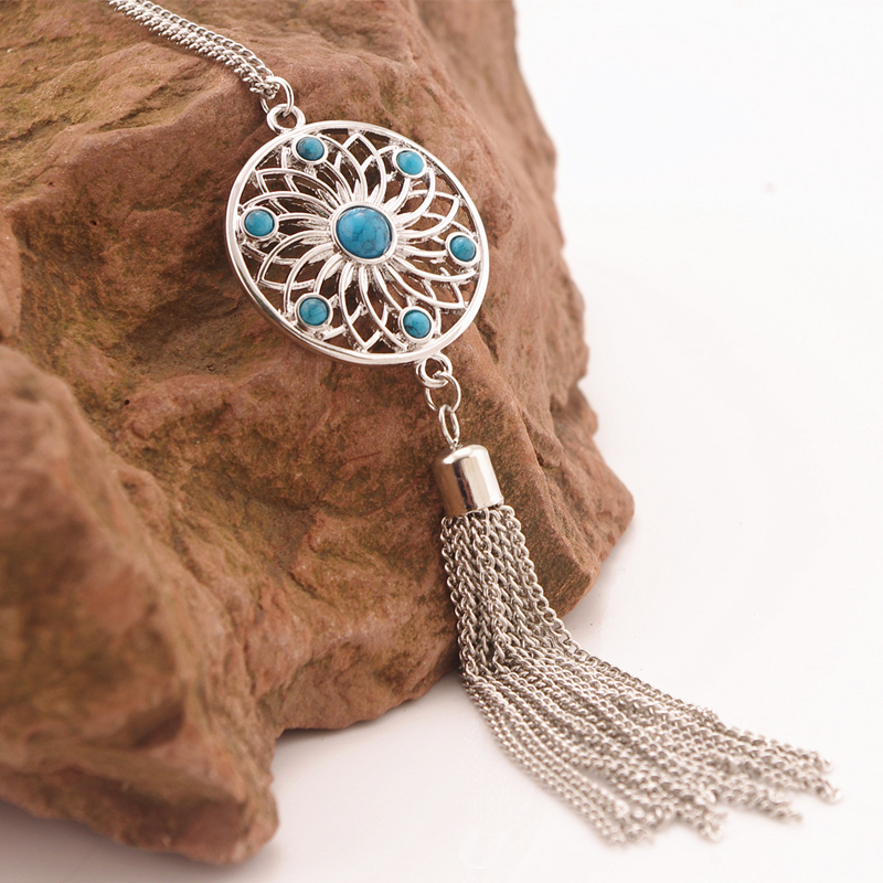 Shellhard Boho Bead Flower Necklaces Fashion Hollow Net Tassel Long Pendant Dangle Necklace For Women Jewellry ...