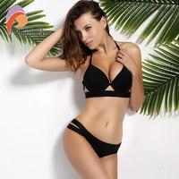 Andzhelika Bikinis Women Black Bandage Swimsuit 2017 Sexy Push Up Swimwear Low Waist Bathing Suit Halter