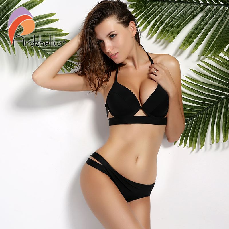 Andzhelika Bikinis Women Black Bandage Swimsuit 2018 Sexy Push Up Swimwear Low Waist Bathing Suit Halter Bikinis Suit Swim tank heart new black white print bikini set women sexy bandage bathing suit halter lace swimsuit swimwear solid beachwear