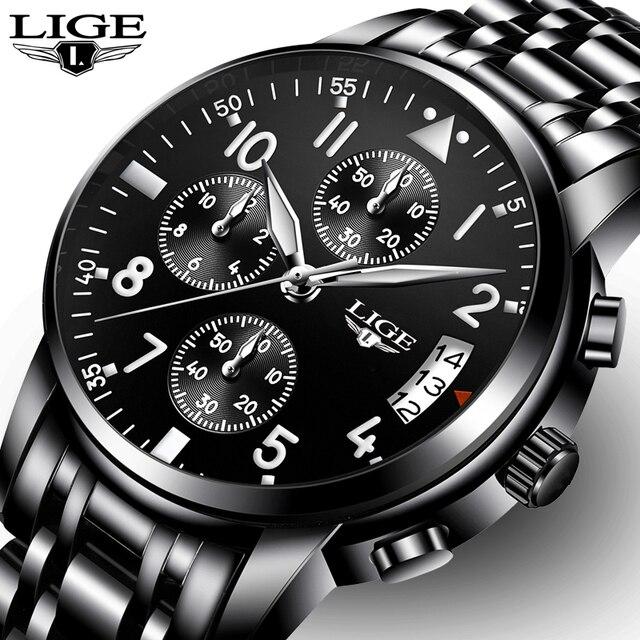 74eaf338b1e LIGE Mens Relógios Top Marca de Luxo relogio masculino de Negócios de Moda  Relógio de Quartzo