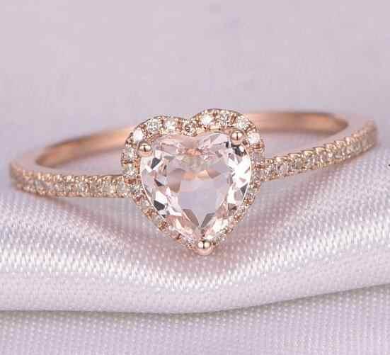 แฟชั่นคริสตัลรูปหัวใจงานแต่งงานแหวน Zircon แหวนหมั้น Glamour เครื่องประดับ