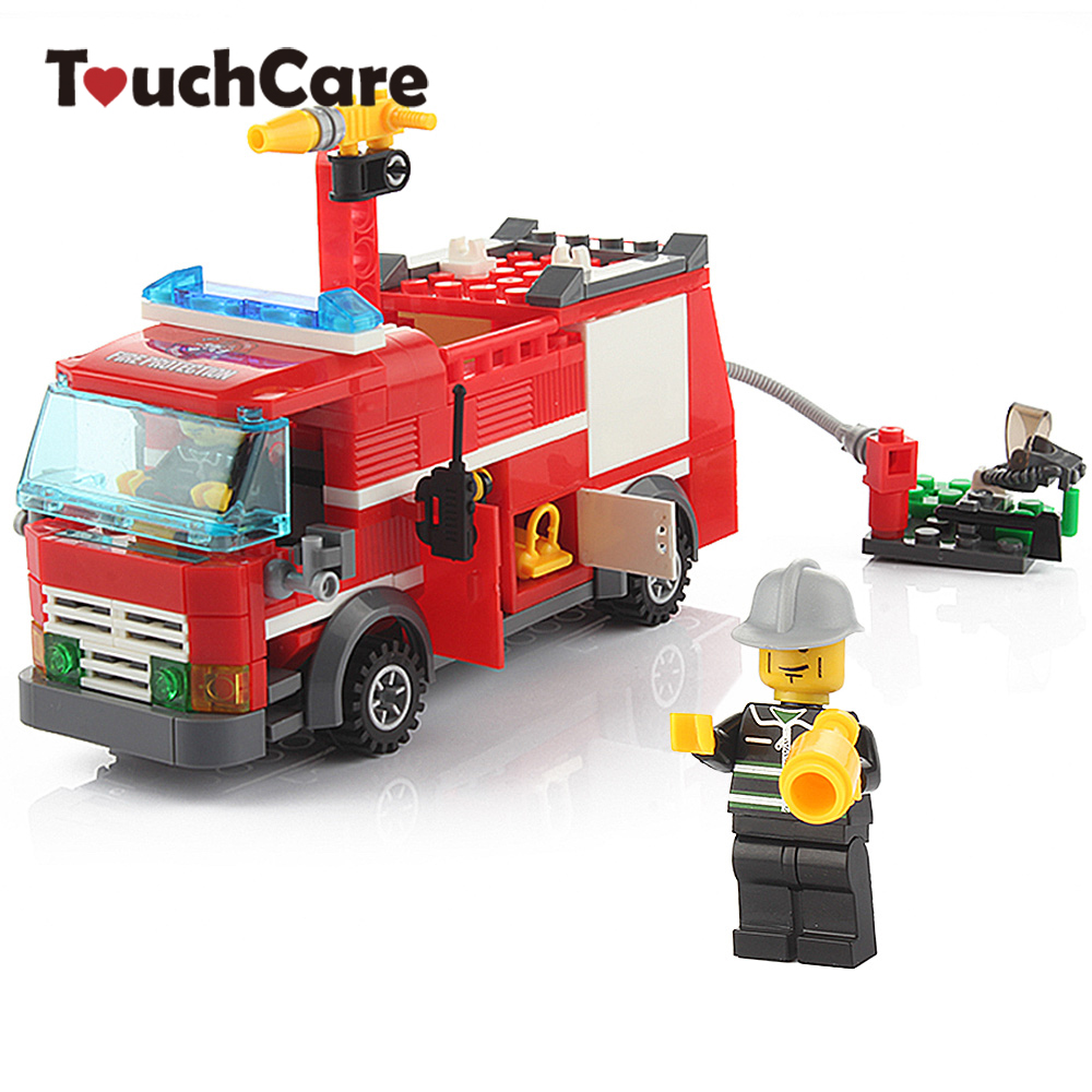 Cartoon Fire Truck Building Blocks Baby Toys Kids DIY Learning Educational Bricks Toys Playmobile Children Gift Toys banbao 8313 290pcs fire fighting ladder truck building block sets educational diy bricks toys christmas kids gift