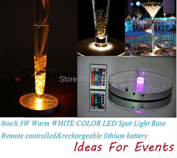 2016 New Wedding Invitations Decoration Led Light Base for Wedding Centerpiece + Rechargeable Battery 24 Keys Ir Remote Control