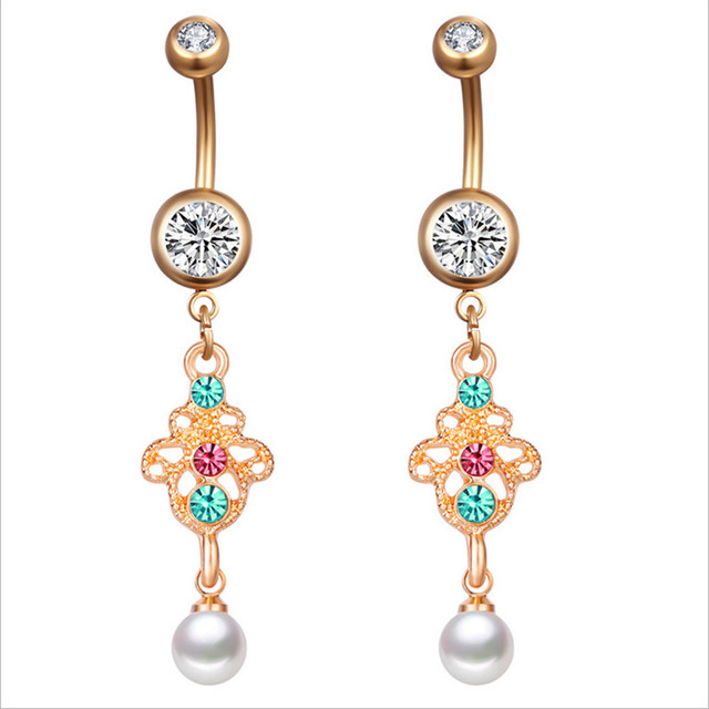 Us 1 47 11 Off Medical Stainless Steel Crystal Flower Dangle Navel Rings Pearl Belly Button Rings Body Piercing Navel Jewelry On Aliexpress Com