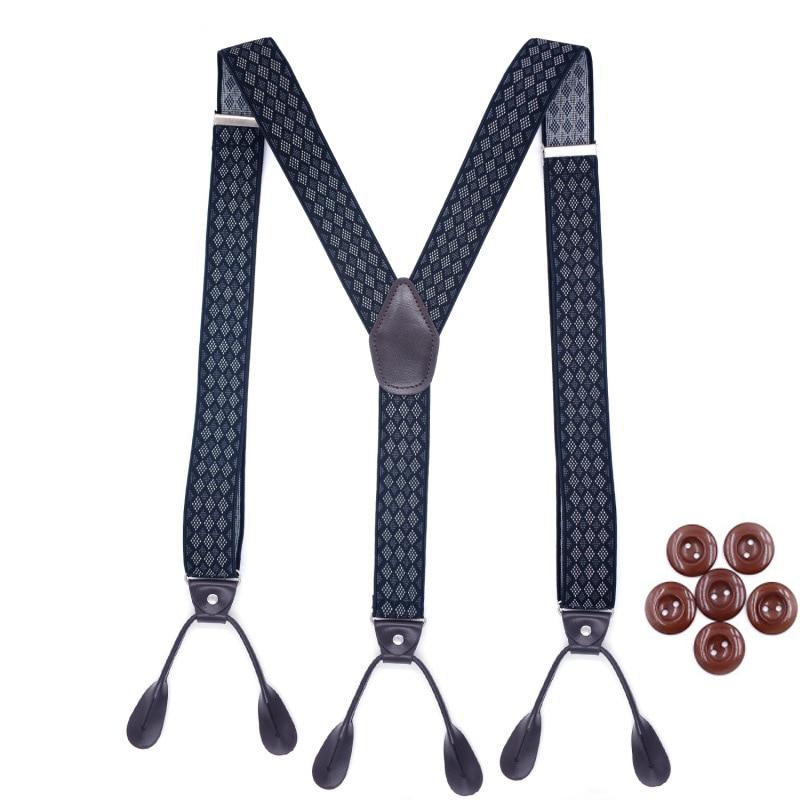 New Buttons Suspenders Man's Braces Unisex 6 Button Hole Leather Fittings Braces Y-Back Ligas Tirantes Bretelles