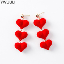 YWUULI Cute Korean Autumn Winter Warm Velvet Heart Earrings for Women Sweet Dangle Earrings Brincos Ear Jewelry Gift MJ143