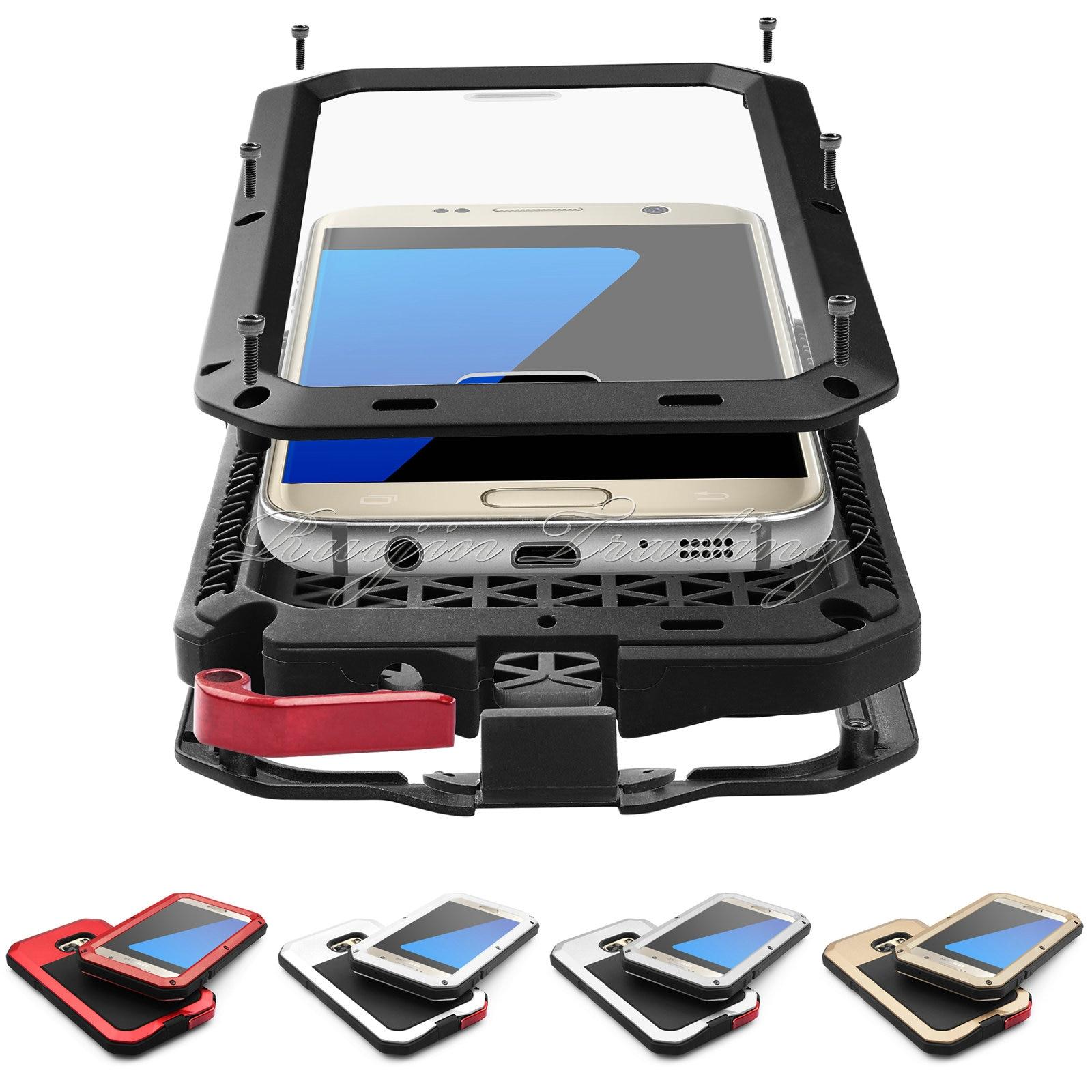 A prueba de golpes para Samsung Galaxy S4 S5 S6 S7 borde Nota 4 5 IPX3 impermeable de aluminio Gorilla de aluminio de vidrio protector cubierta