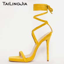 Yellow Fuax Suede High Heel Women Sandals Woman Shoes Cross Tied Ankle Strap Summer Sexy High Quality Handmade Shoes Wholesale