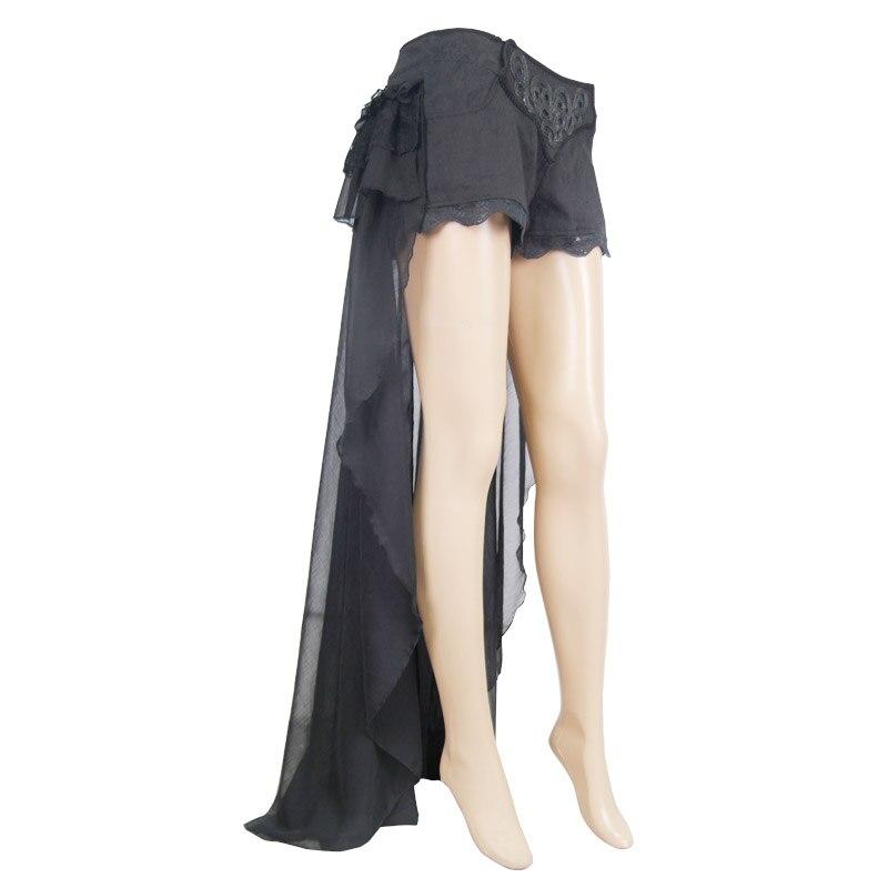 Diabo moda gótico preto sexy shorts com renda longa steampunk verão feminino legal shorts calças personalizadas - 5