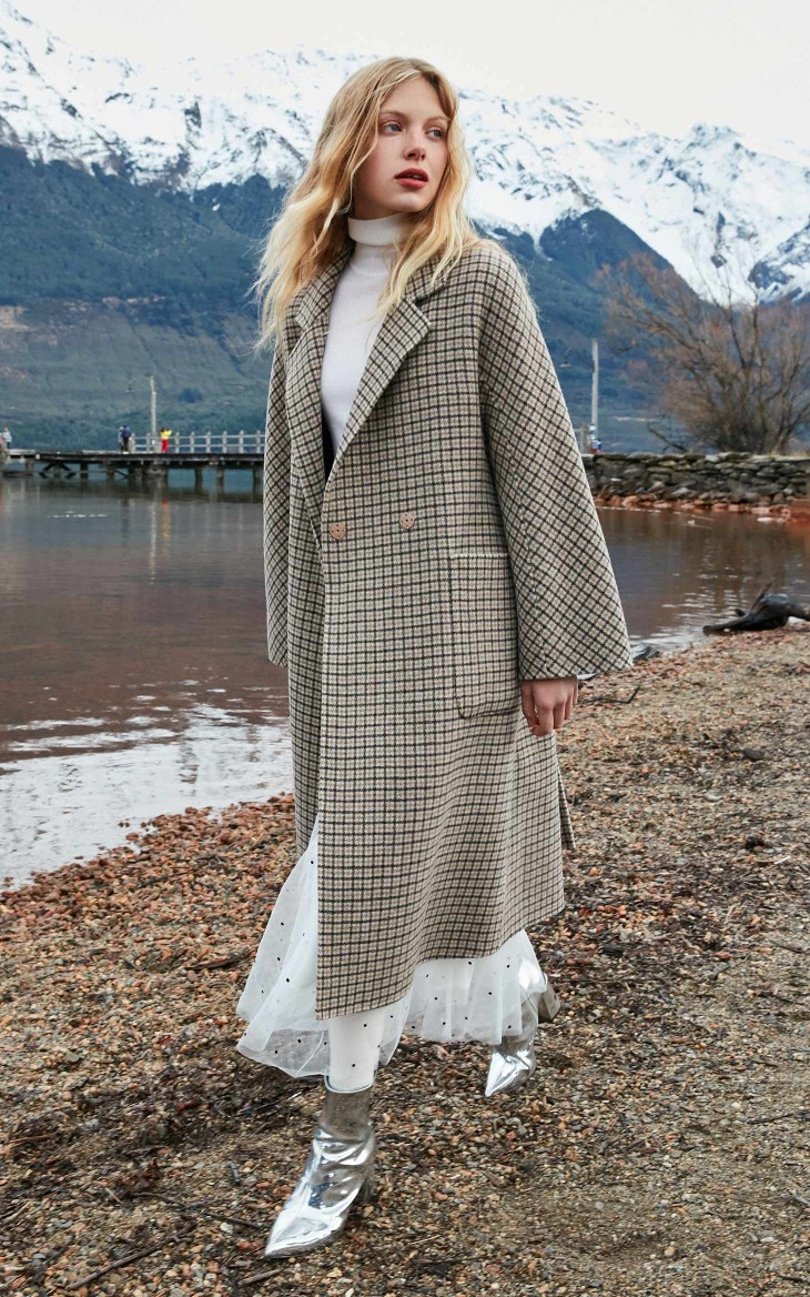 Woolen Overcoat Long Plaid Ladies Fashion Double Sided Outwear