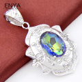 ENYA Xmas Gift Jewelry 1 Pcs Colorful Silver Plated Pendants Necklaces Mystic Synthetic Topaz Pendants For Women