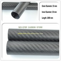 33mm ODx 30mm ID Carbon Fiber Tube 3k 1000MM Long (Roll Wrapped) carbon pipe , with 100% full carbon, Japan 3k improve material