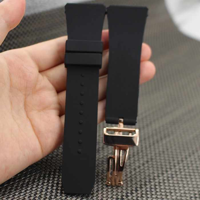 f20aed572b9 Black Silicone Rubber watch strap bracelet wristband sport watch band 26mm  28mm watchband for ap watches