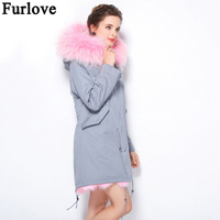 Furlove Winter Jacket Women Brand Luxury Large Natural Raccoon Fur With Real Fox Fur Liner Thick Warm Parka Outwear Army Green