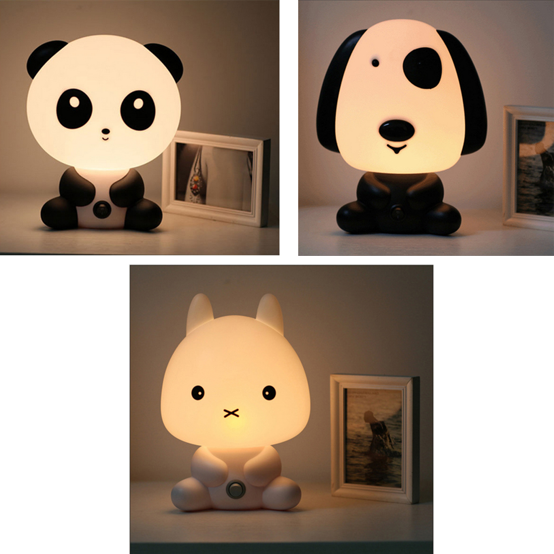 Hot EU Plug Baby Bedroom Lamps Night Light Cartoon Pets Rabbit Panda PVC Plastic Sleep Led Kid Lamp Bulb Nightlight for Children