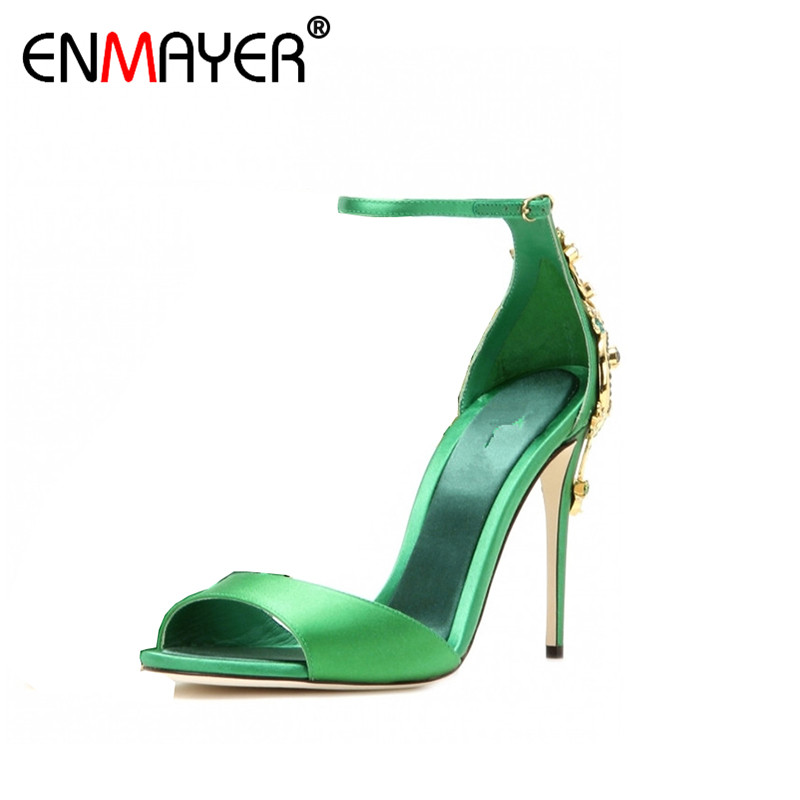 ФОТО ENMAYER Genuine Leather Women Pumps for Banquet Summer Extreme High Heels Open Metal Charming Buckle Strap Women Wedding Shoes