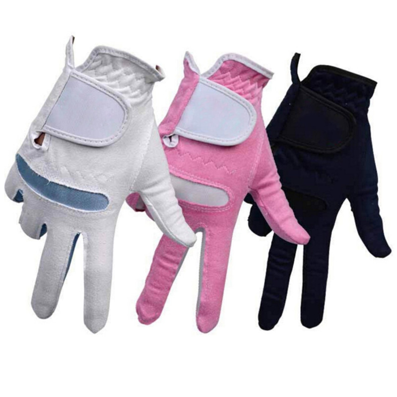 1pair Womens Anti-skid Sports Gloves Golf Gloves Microfiber Soft Fit Sport Grip Durable Breathable Gloves