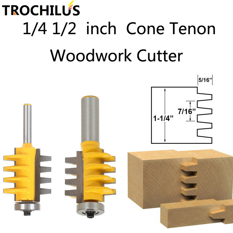 1/2 1/4T Rail and Stile Finger Joint Glue cnc router bits Cone Tenon milling cutters combination Woodworking tools 2PCS 1pc rail finger joint glue router bit 1 2 1 4 shank cone tenon milling cutters for wood cutter woodworking tools