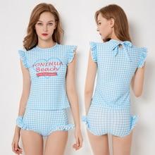 цена 2018 Sexy Ruffle One Piece Swimsuit Women Swimwear Push Up Monokini Bodysuit Print Swim Suit Backless Bathing Suit Beach Wear онлайн в 2017 году