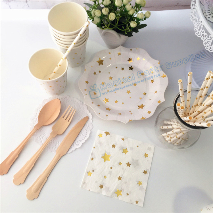 32 set Gold Party Paper Plates Cups Napkins Straws Bridal Shower baby Shower Hen party supplies Sweet Wooden Cutlery Set & ? ???????? ?32 set Gold Party Paper Plates Cups Napkins Straws ...