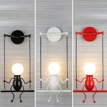 купить Led Wall Lamp Creative Swing Wall Mounted Iron LED Wall Lights Bedroom Bedside Light Restaurant Atmosphere Lighting Dropshipping дешево