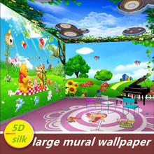 цена на Custom 5D silk large mural wallpaper 3d cartoon cute animal kid children room boy girl mural bedroom TV wall paper wall covering