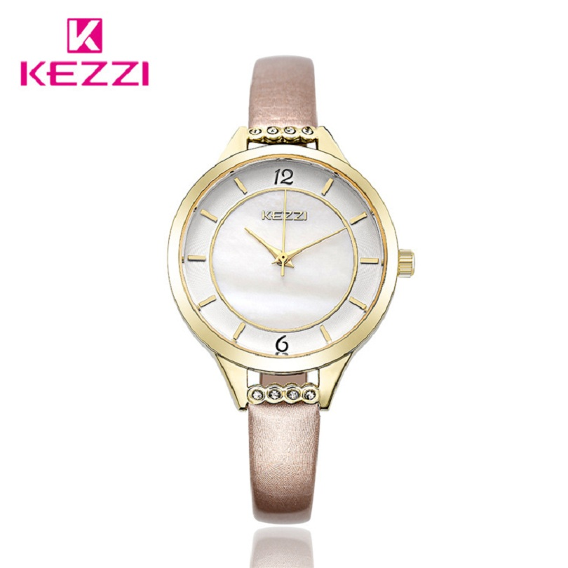 KEZZI High Quality Leather Ladies Watch Simple Fashion Rhinestone Girl Watches Romantic Style Gift Clock Quartz Women Wristwatch comtex ladies watch spring casual yellow leather women wristwatch for girl new fashion quartz calendar watches reloj clock gift