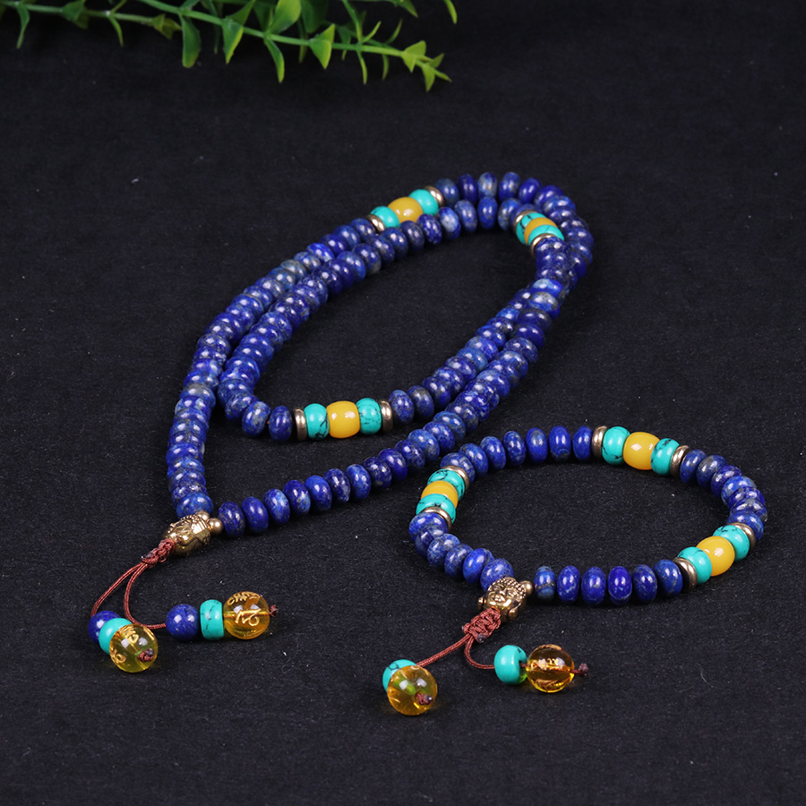 Natural Blue Stone Beads Buddha Bracelet Set Lucky Rosary Healthy Couple Jewelry For Human Reduce Anxiety 2PCS/SetNatural Blue Stone Beads Buddha Bracelet Set Lucky Rosary Healthy Couple Jewelry For Human Reduce Anxiety 2PCS/Set