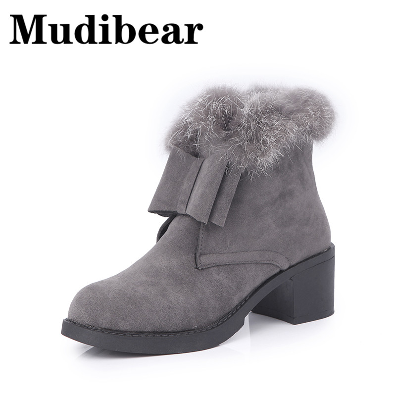 Mudibear Ankle Boots For Woman High Heel Black Casual Women Martin Boots Shoes Flock Round Toe Winter Warm Plush Vintage botas владимир васильев облачный край