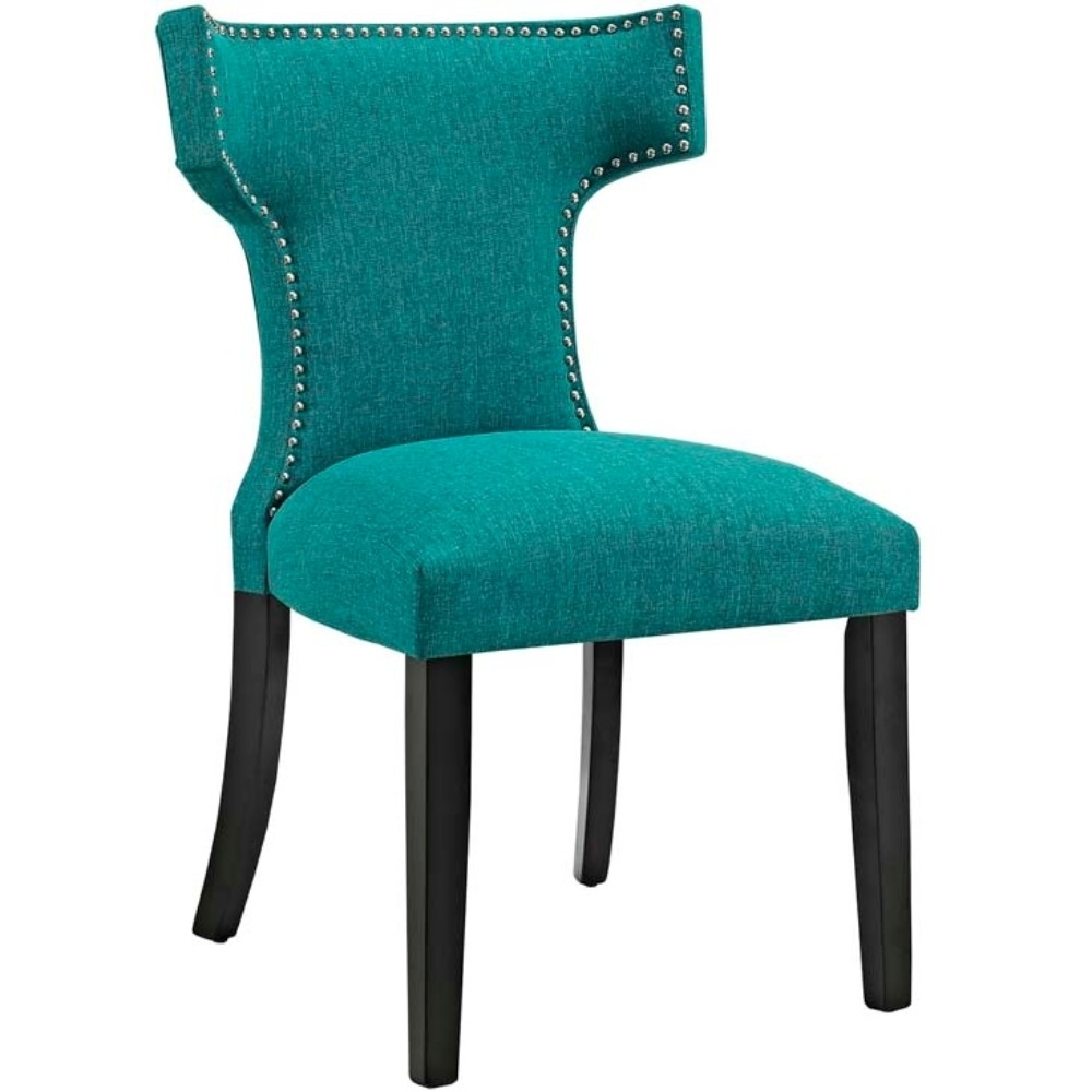 Curve Fabric Dining Chair, Teal anso contemporary teal color fabric accent chair