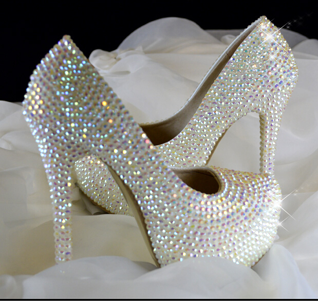 summer style white ab rhinestone bling wedding shoes bridal party shoes women pumps sapatos. Black Bedroom Furniture Sets. Home Design Ideas