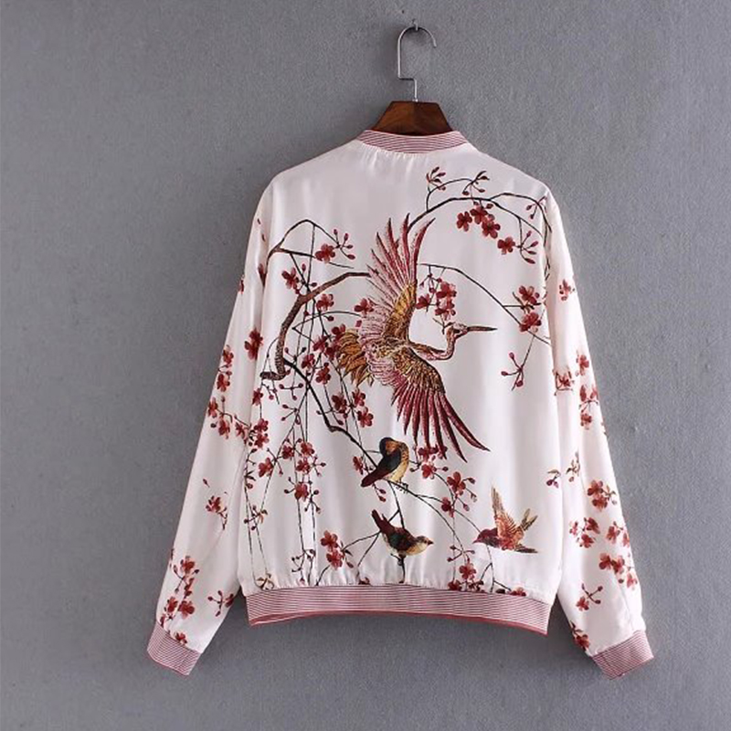 2017 Quilting Autumn Jackets Floral Embroidery Long Sleeve Zipper Women Bomber jacket Brand chaquetas mujer THNZ9395