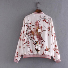 2016 Quilting Autumn Jackets Floral Embroidery Long Sleeve Zipper Women Bomber jacket Brand chaquetas mujer THNZ9395