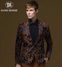 Men Brown Retro Formal Suit Jacket Super Slim Fashion Jacquard Blazers Autumn Winter Warm Man Wedding Groom Business Full Sleeve