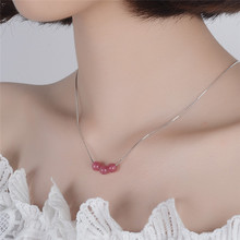 TJP New Arrival Female Pink Crystal Women Pendants Necklace Jewelry Fashion 925 Silver Choker For Party