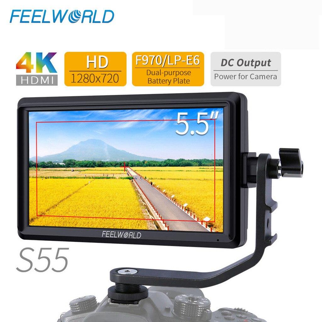 FEELWORLD S55 5.5 pouces IPS DSLR caméra moniteur de terrain 4 K HDMI sortie cc pour Sony/Nikon réglage de la mise au point assisté avec 8.4 V DC Out L