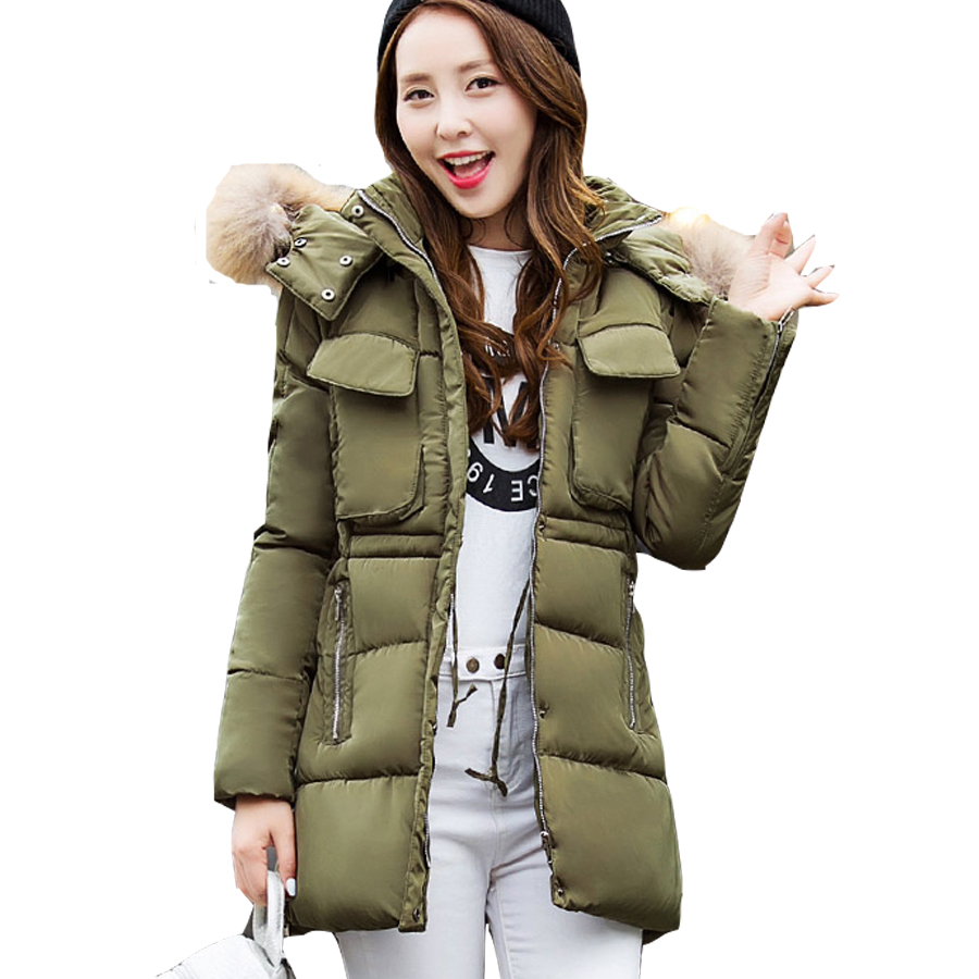ФОТО New Winter Women Long Parkas Female Hooded Solid Color Outerwear Warm Casual Brand Women Coats Loose Clothes Thick  Parkas Tops