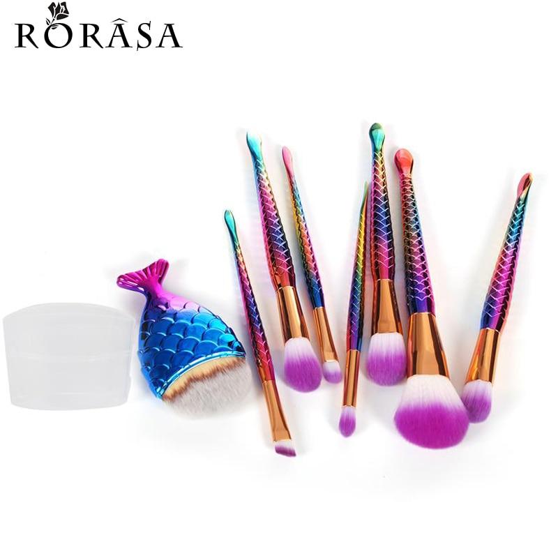 8Pcs Eyeshadow Make up Brushes Contour Blending Cosmetic Brushs Mermaid Makeup Brushes Set Fish Cosmetic Concealer