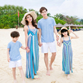 Mother Daughter Dresses New 2017 Summer Sleeveless Holiday Beach Long Dress for Women and Girl Casual Family Clothing