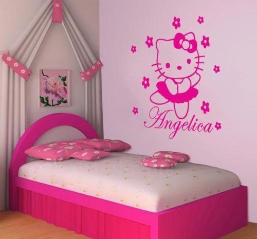 Vinilos Hello Kitty Pared.16 59 Hello Kitty Pared De Vinilo Decal Opciones De Color Personalizada Nombre Kids Room Decor 40x60 Cm En Pegatinas De Pared De Hogar Y Jardin En