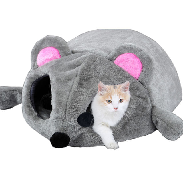 Grey Mouse Shape Bed For Small Cats Dogs Cave Bed Removable Cushion,Waterproof Bottom Cat House Mouse For Cats Pet Products