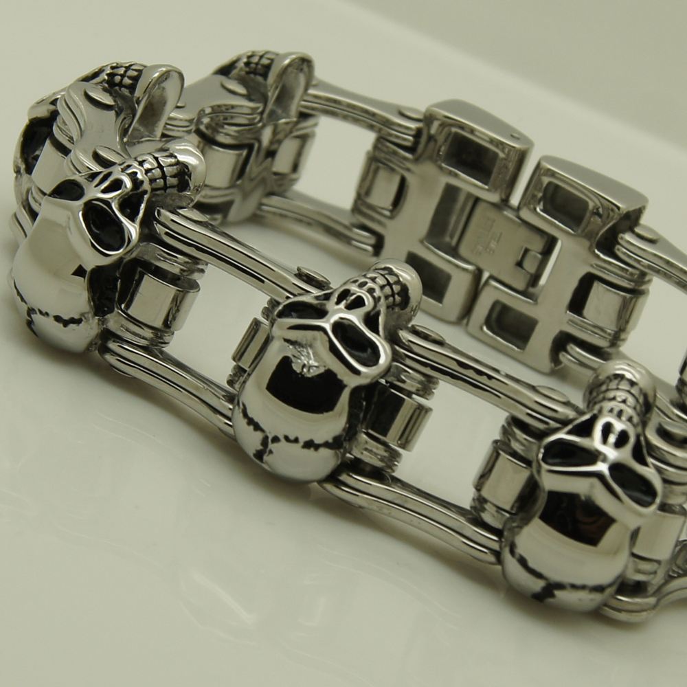 23mm width 153 7g skull motorcycle bike chain men boy s stainless steel bracelet men jewelry
