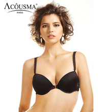 ACOUSMA Women Smooth T shirt Bra Sexy Floral Lace Brassiere Underwear Everyday Bra 3/4 Cup Push Up Ladies Lingerie Black White